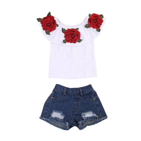 Little Girls Off-Shoulder Rose Embrodidery Applique Ruffle Top and Denim Shorts - 40s Outfits