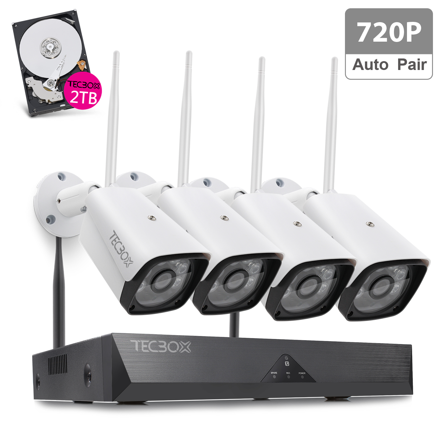 TECBOX 4CH Auto Pair Wireless Security Camera System 720P HDMI NVR, 2TB Hard Drive, 4 x 720P HD Indoor/Outdoor Weatherproof Night Vision Wireless IP Cameras,View Remotely Wifi Security Camera