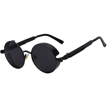 Steampunk Retro Gothic Vintage Black Metal Round Circle Frame Sunglasses Smoke