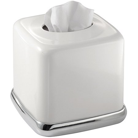 InterDesign York Bath Collection, Facial Tissue Box Cover/Holder for Bathroom Vanity Countertops, White
