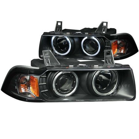 ANZO 1992-1998 BMW 3 Series E36 Projector Headlights w/ Halo Black (CCFL)