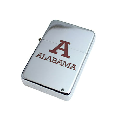 KuzmarK Silver Windproof Flip Top Lighter -  Alabama Alabama (Cheap Lighters Bulk)