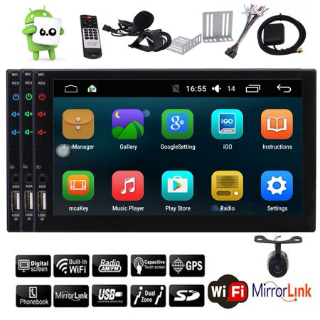 Android 6.0 Marshmallow Double GPS Satellite Double Din in Dash Autoradio Car Stereo GPS Navigation Hands free Bluetooth support Audio Video USB/SD Colorful Key Lights Automotive Head Unit + Rear