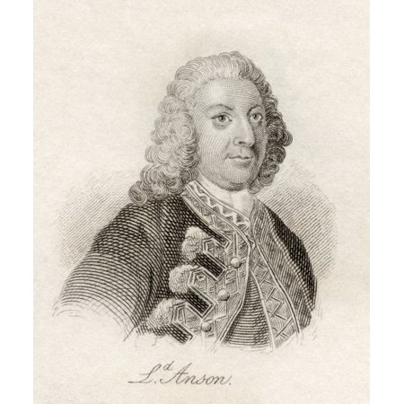 George Anson 1St Baron Anson 1697 - 1762 British Admiral And Wealthy Aristocrat Noted For His Circumnavigatiion Of The Globe From The Book Crabbs Historical Dictionary Published 1825 PosterPrint