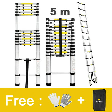 Telescopic Ladder (Finether 16.4ft Aluminum Telescopic Extension Ladder with Work Gloves, Ladder Carrying Bag and Finger Protection Spacers, 331 lbs Capacity)