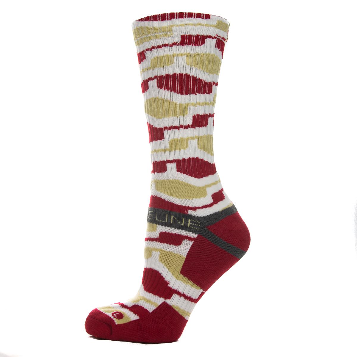 Athletic Crew Socks The Bay Gold/Scarlet Hex 1507011 Strapped Men's