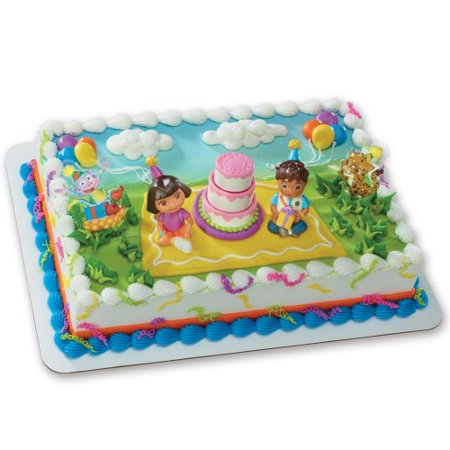 Dora The Explorer Birthday Decorations (Dora the Explorer - Birthday Celebration DecoSet Cake)