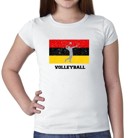Germany  Olympic - Volleyball - Flag - Silhouette Girl's Cotton Youth T-Shirt Little German Girl