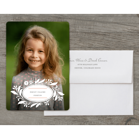 Personalized First Communion Deluxe 5 x 7 Invitation - Blessed Moment (First Holy Communion Invitations)