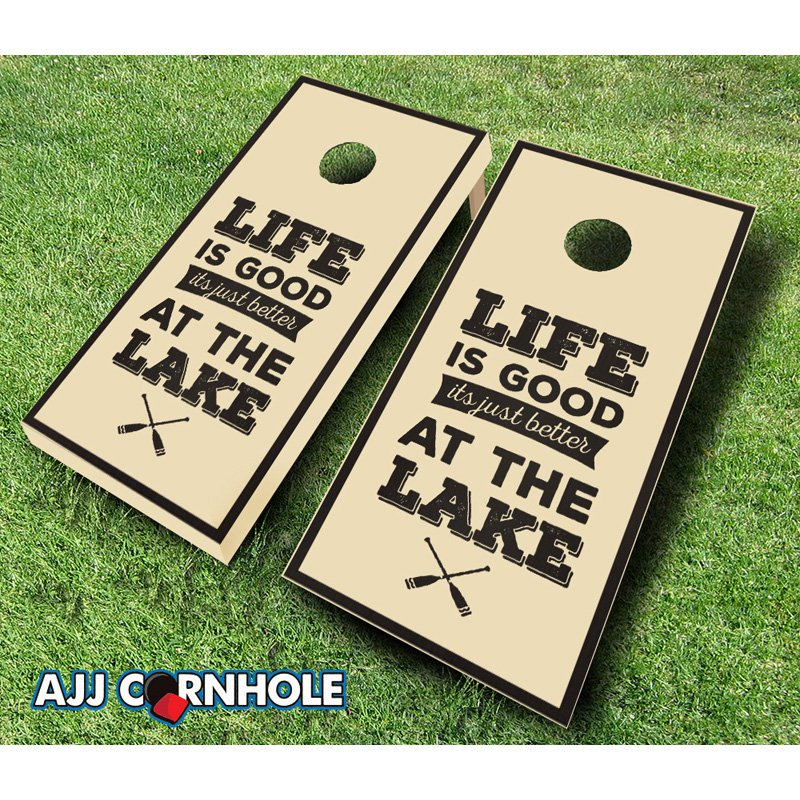 AJJ Cornhole Life is Better at the Lake Stained Cornhole Set by