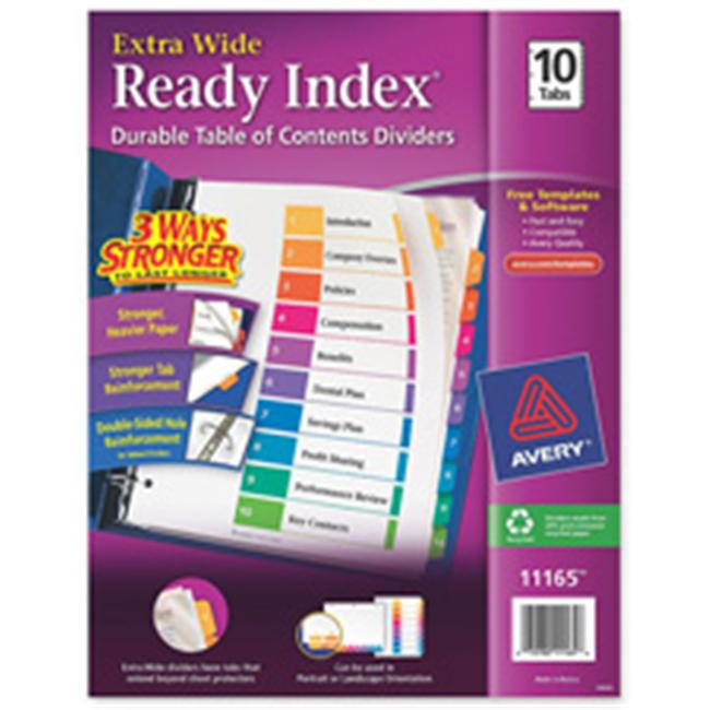 Avery Consumer Products AVE11165 Index Dividers- Extra Wide- 10-Tab- Contemporary- Multicolor