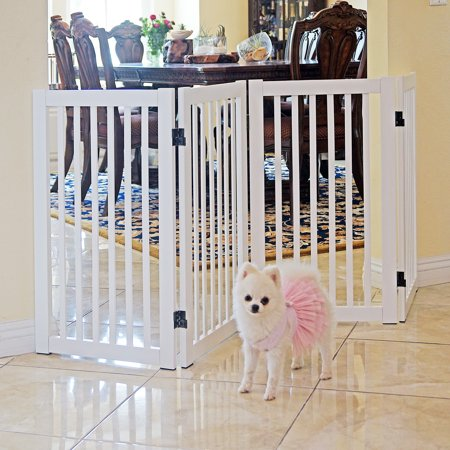 Welland 72 Freestanding Configurable Wood Pet Gate With Support