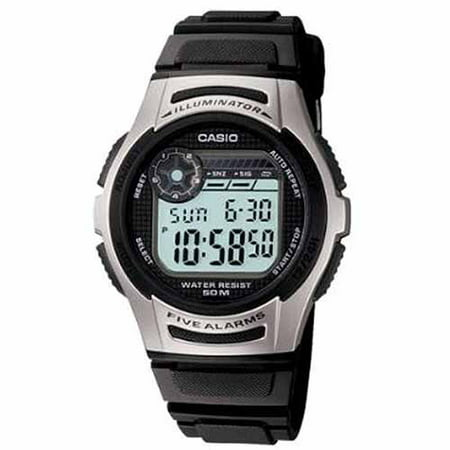 Casio Mens Silver Digital Sport Watch  Black Resin Strap