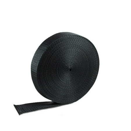 Houseables Nylon Webbing Strapping Material  Heavy Flat Strap  1 Inch W X 10 Yard  Black  Uv Resistant Fabric  Web For Bags  Backpacks  Belts  Climbing Harnesses  Slings  Collars  Tow Ropes