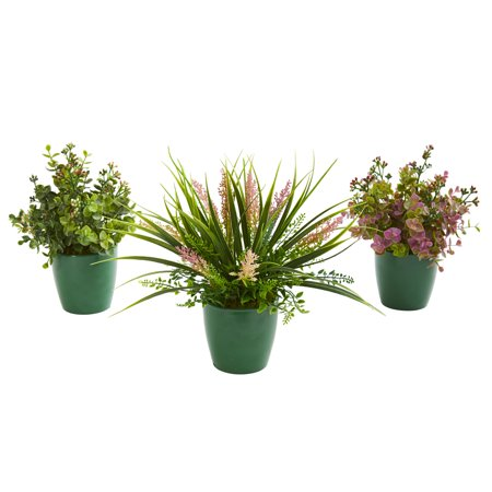 Image of Nearly Natural Eucalyptus, Grass and Sedum Artificial Plant in Green Planter (Set of 3)
