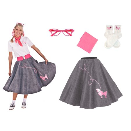 Diy 50s Skirt (Plus Size 4 pc - 50's Poodle Skirt Outfit - Gray /)