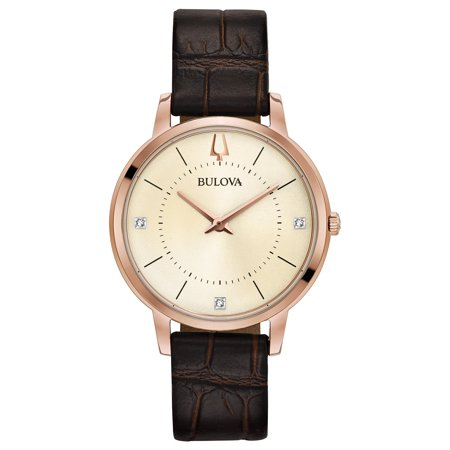 Scattered Diamond Watch - 97P122 Women's Classic Champagne Dial Brown Leather Strap Diamond Watch