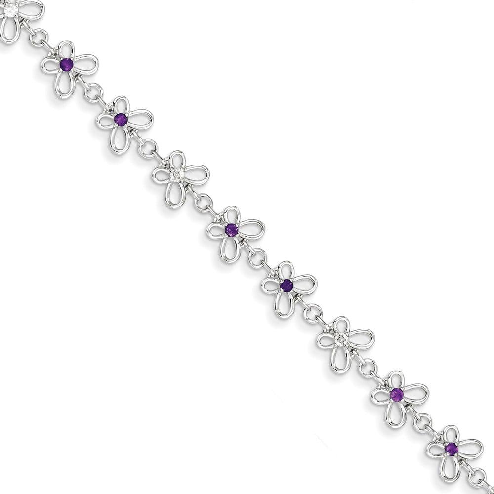 Sterling Silver Amethyst & Diamond Bracelet. Gem Wt- 0.29ct