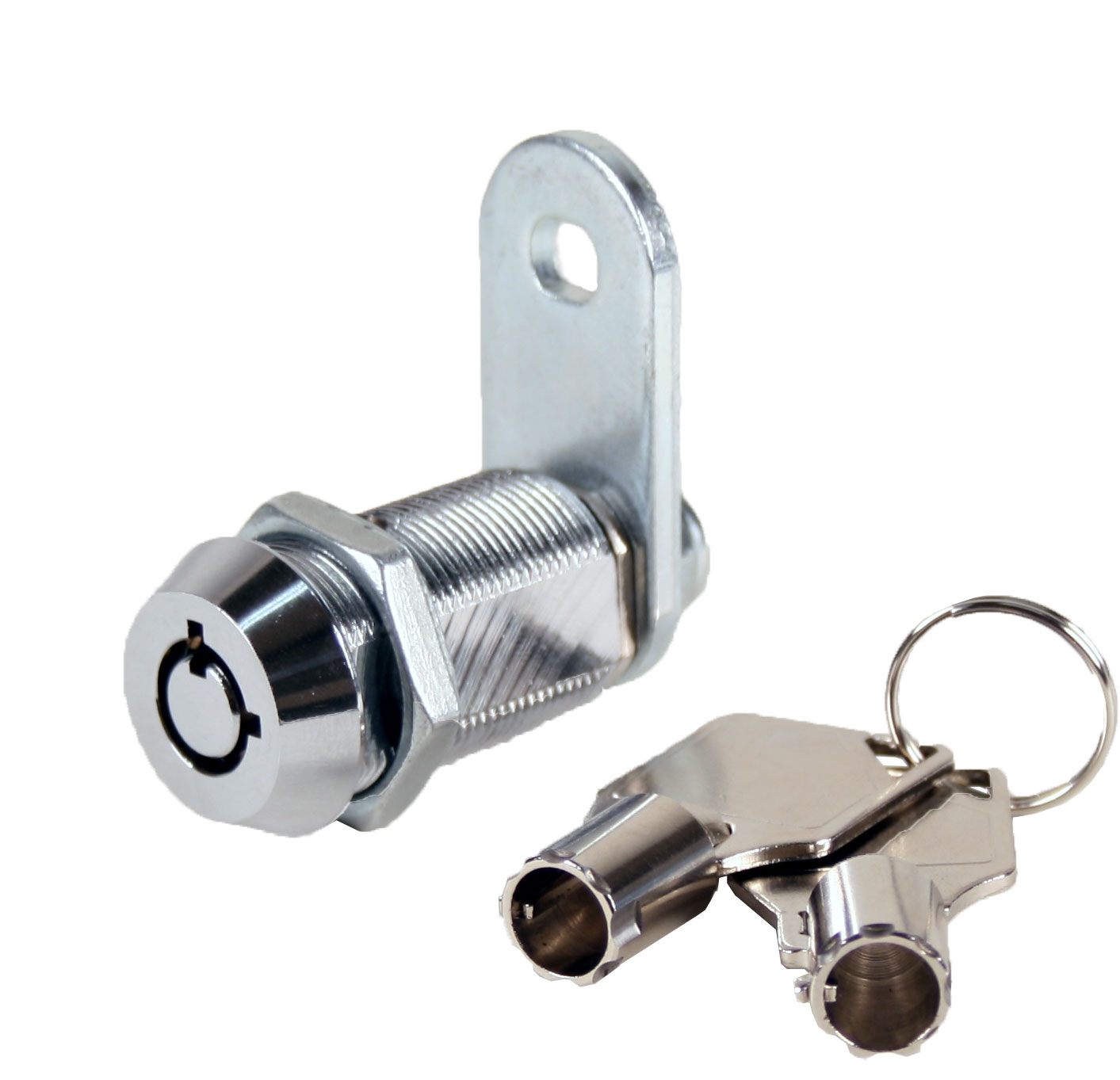 "Tubular Cam Lock With 1-1/8"" Cylinder, Chrome, Keyed Different -4 Pack"