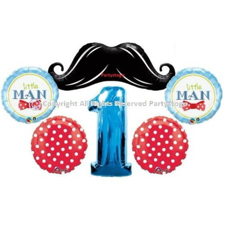 LITTLE MAN MUSTACHE 1ST BIRTHDAY BALLOONS BOUQUET DECORATIONS SUPPLIES INCLUDES 6 FIRST