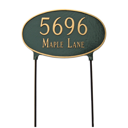 Montague Metal Products Inc. Two Sided Large Oval Lawn Address Sign