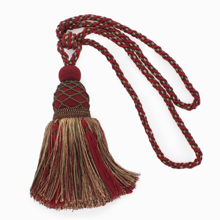 Large Elegant |Cherry Red, Olive Green, Yellow Gold, Black|Curtain and Drapery Tassel Tieback|9 1/2