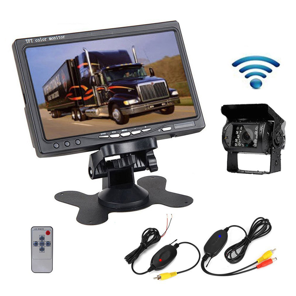 """Podofo Wireless Truck Rear View Camera IR Night Vision Backup Kit 7"""" Monitor"