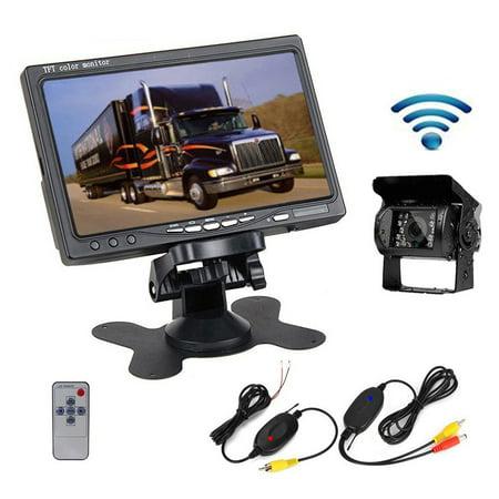 Podofo Wireless Truck Rear View Camera IR Night Vision Backup Kit 7