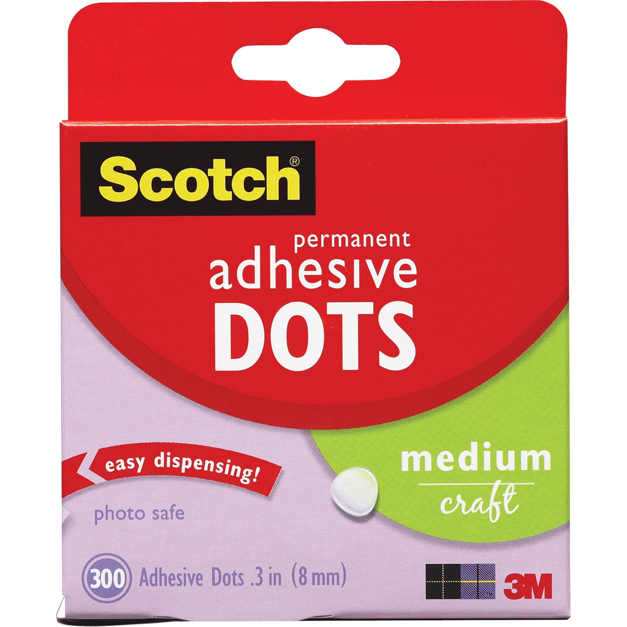 Scotch, MMM010300M, Medium Craft Permanent Adhesive Dots, 300 / Box, Clear