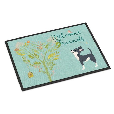 Carolines Treasures BB7627MAT Welcome Friends Black White Chihuahua Indoor or Outdoor Mat, 18 x 27 in. - image 1 of 1