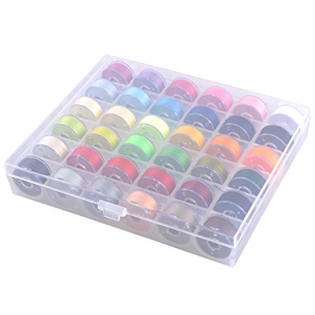eZAKKA Bobbin Box Organizer with 36 Bobbins Threaded with Assorted Color Thread for Brother Babylock Janome Kenmore Elna Singer ect