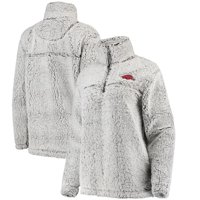 Arkansas Razorbacks Women's Sherpa Super Soft Quarter Zip Pullover Jacket - Gray