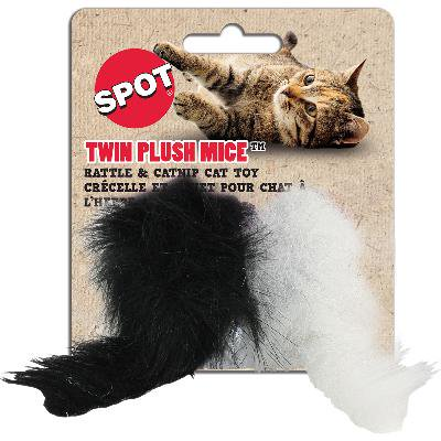 Twin Plush Mice with Rattle & Catnip Cat Toy ()