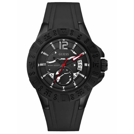 Guess Men's Skeleton Dial Analog Silicone Band Watch with Calendar Black U0034G3 (Guess Mens Bands)