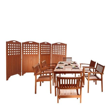 8 Piece Patio Dining Set With Privacy Screen Set Of 6
