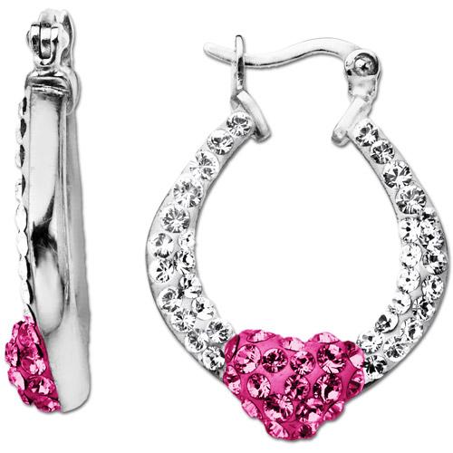 Heart Hoop Earrings with Rose & White Swarovski Crystal in Sterling Silver