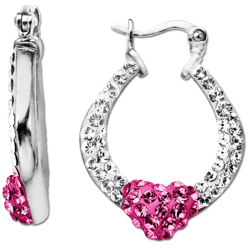Heart Hoop Earrings with Rose & White Swarovski Crystal in Sterling Silver