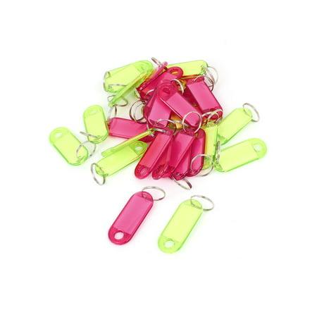 30 Pcs Plastic Oval Shape Key Room ID Name Label Keyring Green Red (Oval Shaped Key)