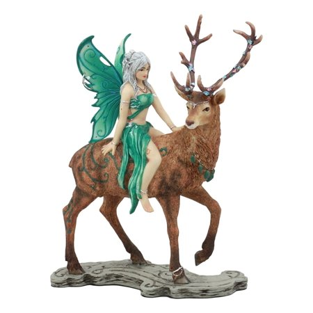 Ebros Large Silver Haired Fairy Riding On Mythical Stag Elk Statue 9.5