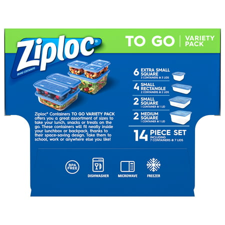 Ziploc Brand Container with One Press Seal, To Go Variety Pack, 14 ct