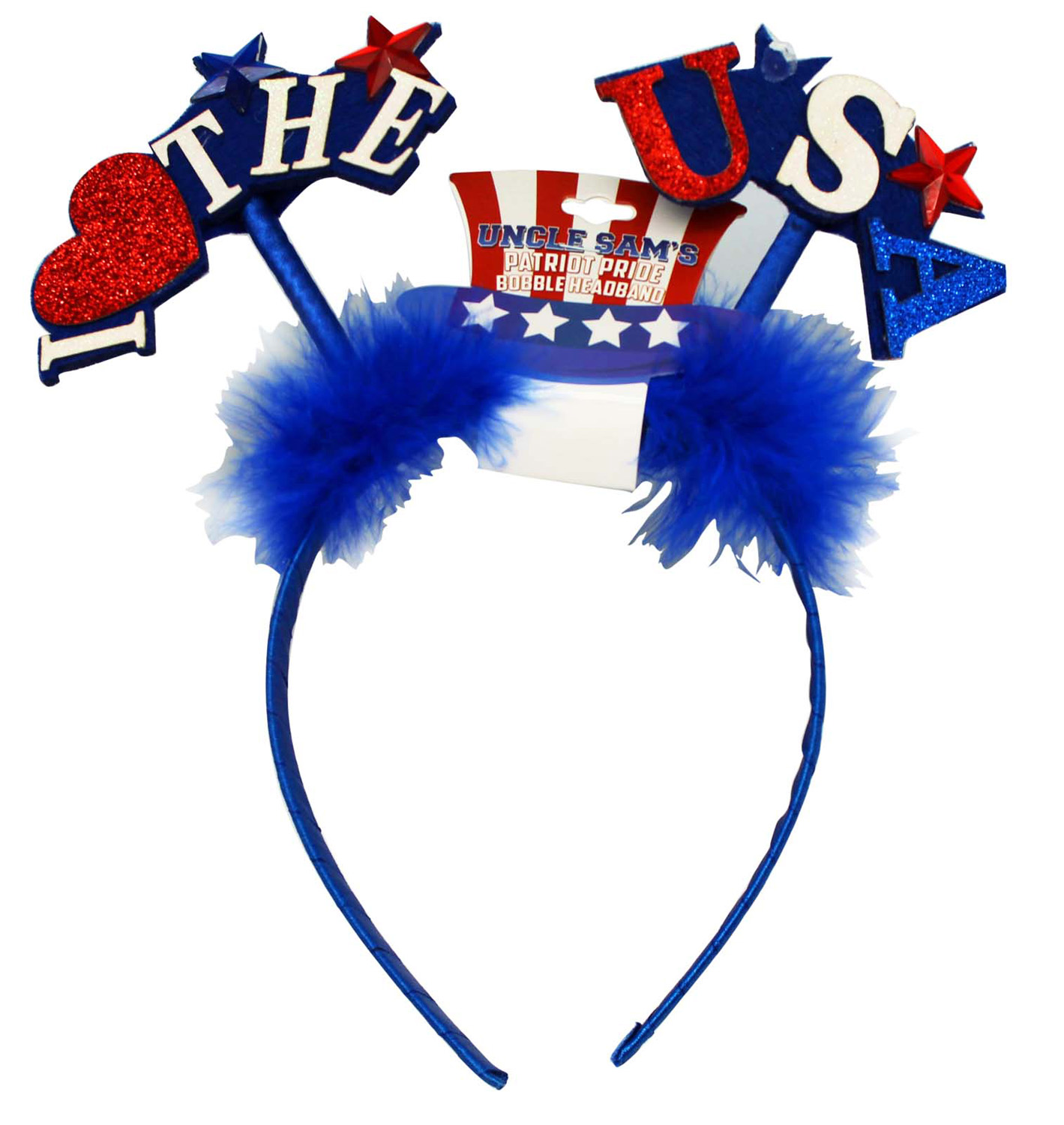 Uncle Sam's Patriot Pride Bobble Headband - I Love The USA (Blue)