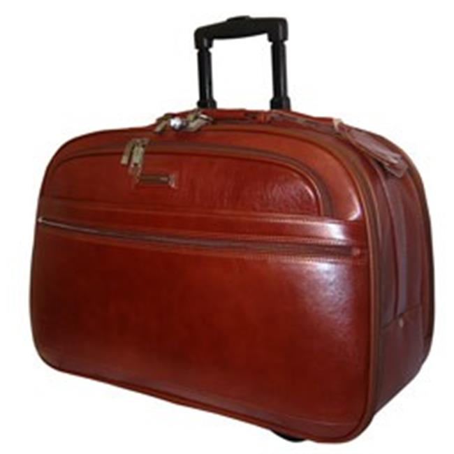 K-Cliffs Full Grain Leather, Carry-On Rolling Briefcase 21 x 13. 75 x 10 inch Brown