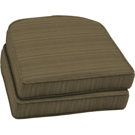 Better homes and gardens outdoor patio wicker seat cushion with welt set of two tan stria for Better homes and gardens patio furniture cushions