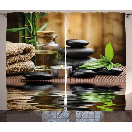 Spa Decor Curtains 2 Panels Set, Asian Zen Massage Stone Triplets with Herbal Oil and Scent Candles , Window Drapes for Living Room Bedroom, 108W X 84L Inches, Black Brown and White, by Ambesonne