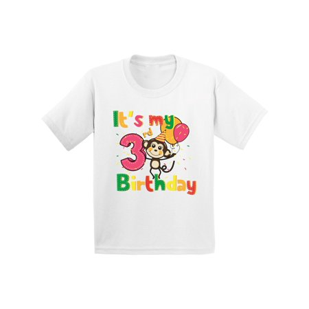 Monkey Birthday Party 3rd Its My Shirt Im Three Boy Tshirt Girl Gifts For 3 Year Old