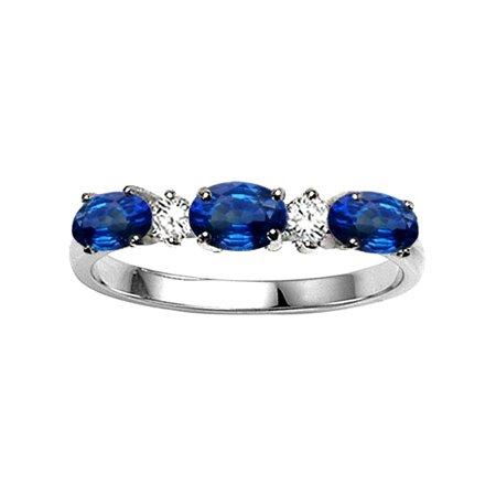 Tommaso Design Genuine Sapphire three stone oval band
