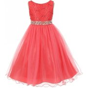 Lace Decorated Sequins Rhinestone Belt Bridesmaid Flower Girls Dresses Coral Size 4-14