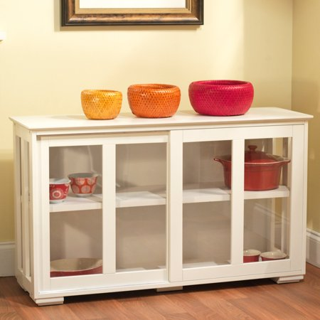 Sliding Tempered Glass Doors Stackable Storage Cabinet, Multiple Colors ()