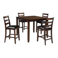 Signature Design By Ashley - Coviar Dining Room Counter Table Set of 5 - Casual Style - Brown