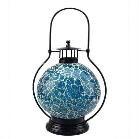 "12"" Decorative Aqua Blue and White Mosaic Glass Tea Light Candle Holder Doom Lantern"